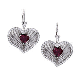 2.16 Carat Total Heart Shaped Rubelite and Diamond Earrings in 18 Karat Gold