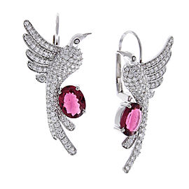 2.90 Carat Total Oval Rubelite and Diamond Hummingbird Earrings in 18 Karat Gold