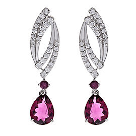 3.00 Carat Total Pear Shape Rubelite and Diamond Earrings in 18 Karat White Gold