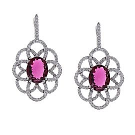 7.02 Carat Total Oval Rubelite & Diamond Earrings In 18K White Gold