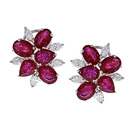 12.45 Carat Total Ruby and Diamond Earrings in 18 Karat White Gold