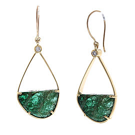 20.00 Carat Total Carved Emerald and Diamond Earring in 18 Karat Yellow Gold
