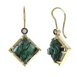 14.55 Carat Total Carved Emerald and Diamond Earrings in 18 Karat Yellow Gold