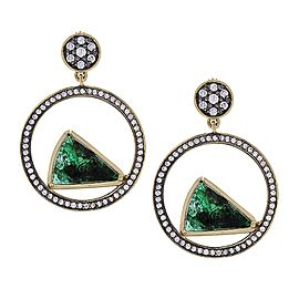 11.25 Carat Total Carved Emerald and Diamond Earrings in 18 Karat Yellow Gold