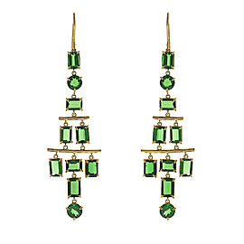 14.71 Carat Total Tsavorite Chandelier Earrings in 18 Karat Yellow Gold