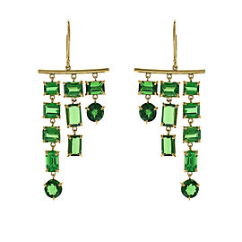 14.29 Carat Total Tsavorite Dangle Earrings in 18 Karat Yellow Gold