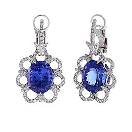 9.30 Carat Total Oval Tanzanite and Diamond Earrings in 18 Karat White Gold