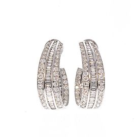 7.74 Carat Total Diamond J Hoop Earrings in 18 Karat White Gold