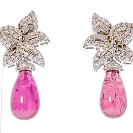21.25 Carat Total Briolette Rubelite and Diamond Earrings in 18 Karat White Gold