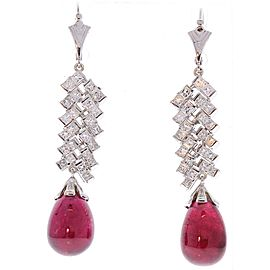 28.80 Carat Total Briolette Rubelite and Princess Cut Diamond Earring in 18K