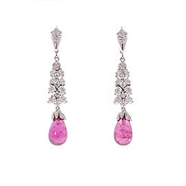 12.40 Carat Total Briolette Rubelite and Diamond Earrings in 18 Karat White Gold