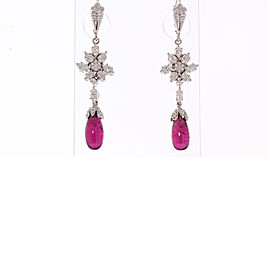 8.25 Carat Total Briolette Rubellite and Diamond Earrings in 18 Karat White Gold