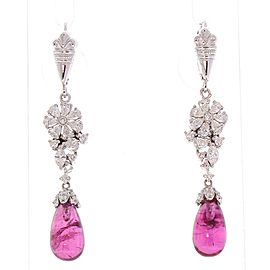 9.15 Carat Total Briolette Rubelite and Diamond Earrings in 18 Karat White Gold
