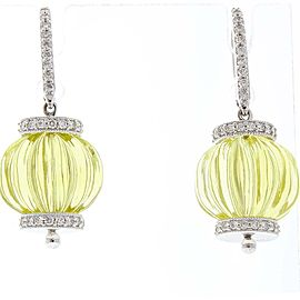 60 Carat Total Lemon Quartz and Diamond Earrings in 14 Karat White Gold