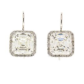 EGL USA Certified 10.04 Carat Total Square Emerald Cut Diamond Earrings in 18 K
