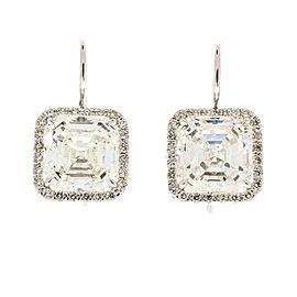 EGL USA Certified 10.04 Carat Total Square Emerald Cut Diamond Earrings in 18 K