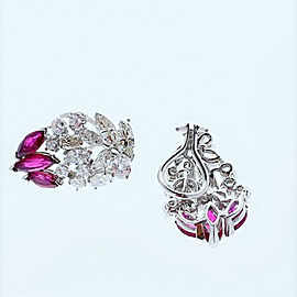5 Carat Total Diamond and Ruby Earrings in 14 Karat White Gold