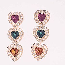 15 Carat Total Heart Shape Tourmaline and Diamond Earrings in 14 Karat Gold