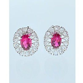 3.78 Carat Total Oval Rubelite and Rose Cut Diamond Earrings in 18 Karat Gold