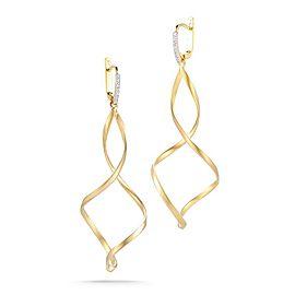 14 Karat Yellow Gold Polish-finish Dangling Swirl Earrings