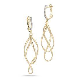 14 Karat Yellow Gold Satin-finish Dangling Earrings