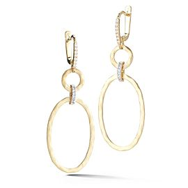 14 Karat Yellow Gold Matte and Hammer-finish Dangling Oval-shaped Earrings