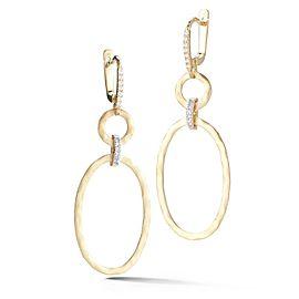 14 Karat Yellow Gold Matte and Hammer-finish Dangling Oval-shaped Earrings