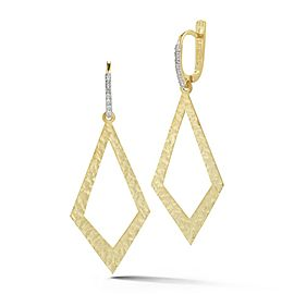 14 Karat Yellow Gold Matte and Hammer-finished Dangling Open Diamond-shaped Earrings