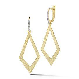 14 Karat Yellow Gold Matte and Hammer-finished Dangling Open Diamond-shaped Earrings