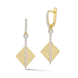 I.Reiss Matte And Hammer-Finished Drop Diamond-shaped Earrings