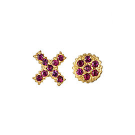 Yossi Harari Jewelry 18k Gold Ruby X O Lilah Stud Earrings