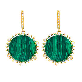 18k Yg Large Round Checker Top Malachite, Crystal and Diamond on 6 Prongs and Rnd Clip Tivoli Earrings