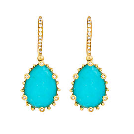 18k Yg Small Ps Turquoise and Crystal With Diamond on 6 Prongs and on Hook Tivoli Earrings