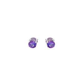 14k White Gold Amethyst February Birthstone Earrings