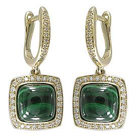 14k Yellow Gold Malachite Earrings
