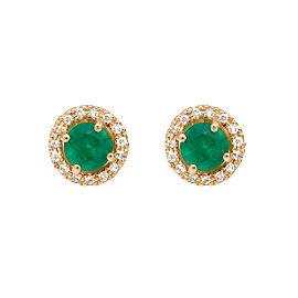 14k Yellow Emerald Earrings