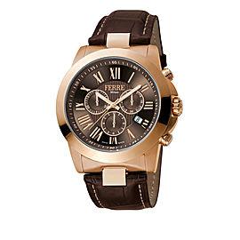 Ferre Milano Chocolate Dark Brown D. Brown Leather Strap FM1G079L0031 Watch