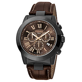 Ferre Milano Chocolate Dark Brown D. Brown Leather Strap FM1G079L0041 Watch