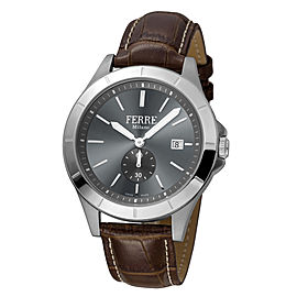 Ferre Milano Anthracite Dark Brown D. Brown Leather Strap FM1G080L0011 Watch