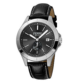 Ferre Milano Black Black Black Leather Strap FM1G080L0021 Watch