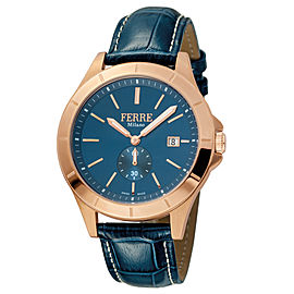 Ferre Milano D. Blue Dark Blue D. Blue Leather Strap FM1G080L0041 Watch