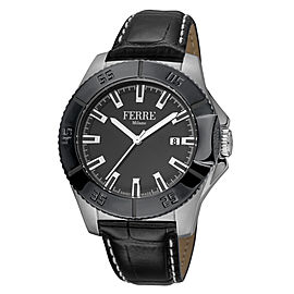 Ferre Milano Black Black Black Leather Strap FM1G085L0041 Watch
