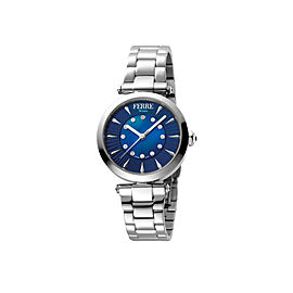 Ferre Milano Dark Blue Silver Stainless Steel FM1L075M0011 Watch
