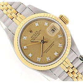 Rolex Datejust Ladies 2-Tone 18K Yellow Gold/Steel 26MM Original Champagne Diamond Dial Jubilee Watch 69173