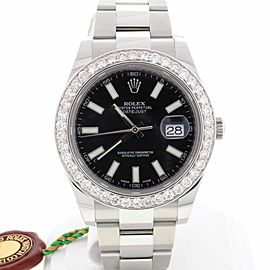 Rolex Datejust II 41MM Original Black Stick Dial Automatic Stainless Steel Oyster Mens Watch 116300 w/Diamond Bezel