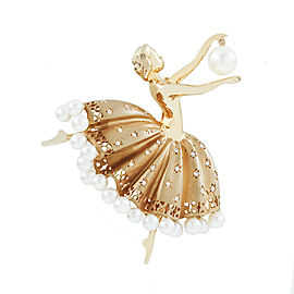Tiffany & Co. Gold Cultured Pearl Diamond Ballerina Brooch