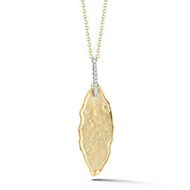 I.Reiss Matte And Hammer-Finished Leaf Pendant