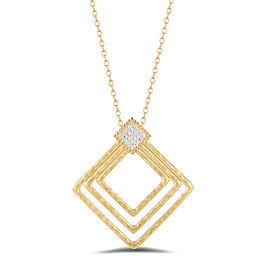 I.Reiss Matte And Hammer-Finished Open Concentric Diamond-shaped Pendant