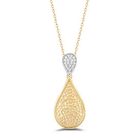 I.Reiss Matte And Hammer-Finished Tear-Drop Pendant