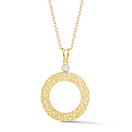 I.Reiss Matte And Hammer-Finished Open Circle Pendant